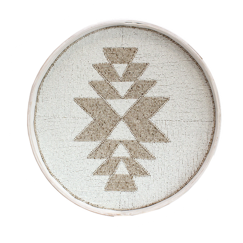 Beaded Trays - Aztec White