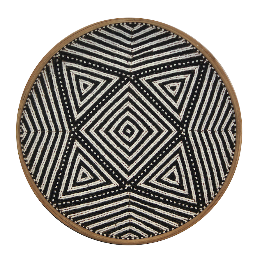Beaded Trays - Black/White Kaleidoscope