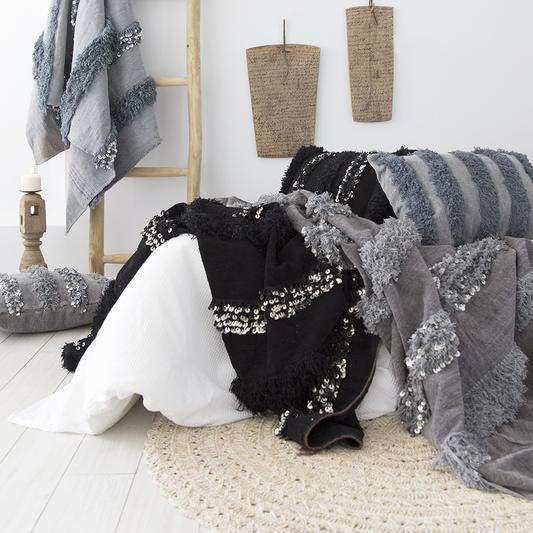 Black Moroccan Blanket w/ Sequins