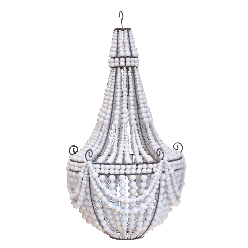 Beaded Chandelier - Tall - White