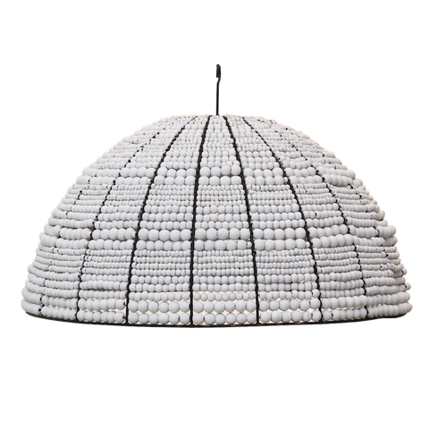 Beaded Dome Pendant - White