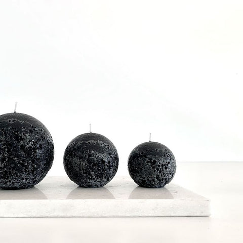 Textured Sphere Candles - Black