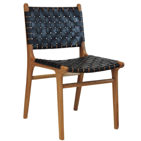 Leather Strapping Chair - Black