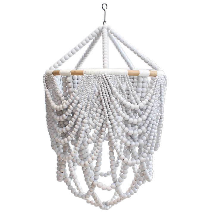 Beaded Drape Chandelier - White