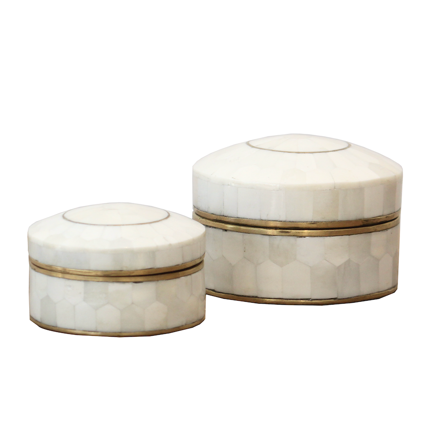 Bone Inlay Round Boxes