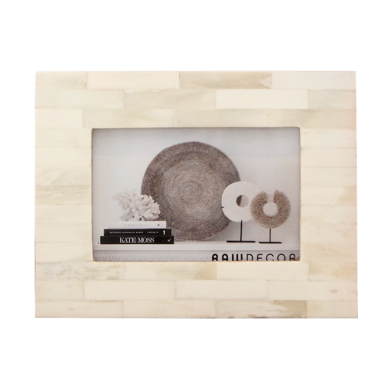 Bone Inlay Photo Frame - Cream
