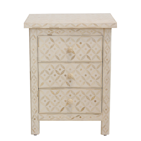 Bone Inlay Bedside Table - White