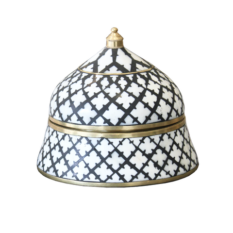 Bone Inlay Trinket Boxes - Black & White Moroccan