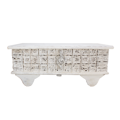 Indian Wooden Trunk - White Wash