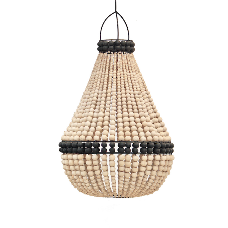 Contrast Beaded Chandelier - Natural/Black