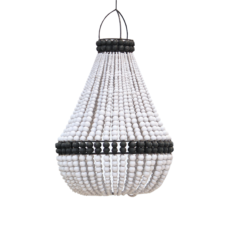 Contrast Beaded Chandelier - White/Black