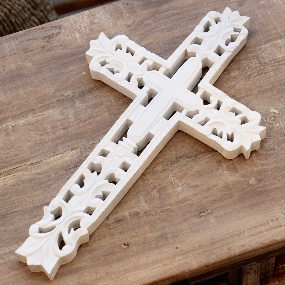 Hand Carved Wall Cross - White