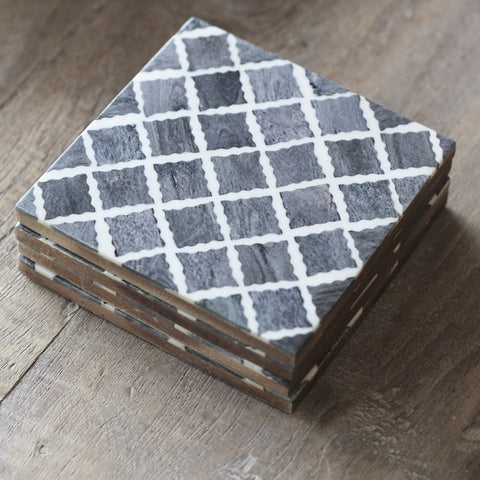 Bone Inlay Coasters - Grey