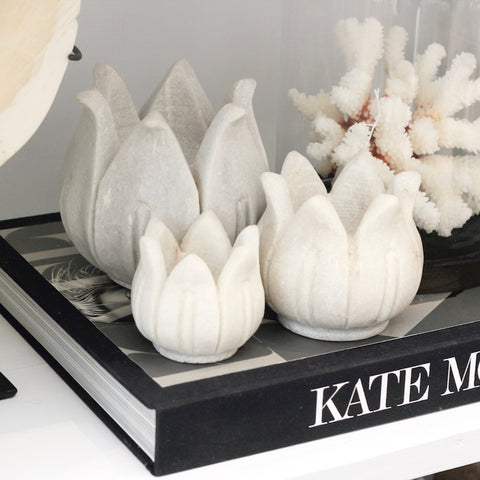 Marble Lotus Tealight Holders