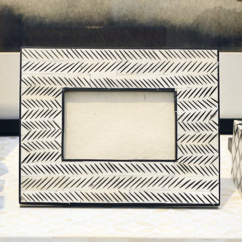 Brush Stroke Bone Photo Frame