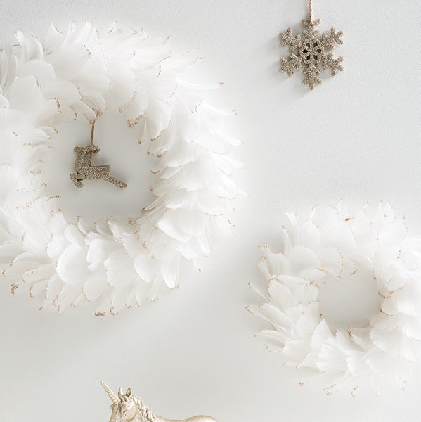 Feather Wreath - White Gold