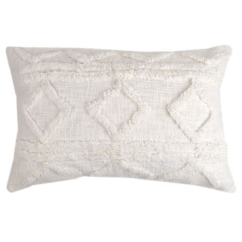 Jamila Rectangle Tufted Cushion - White