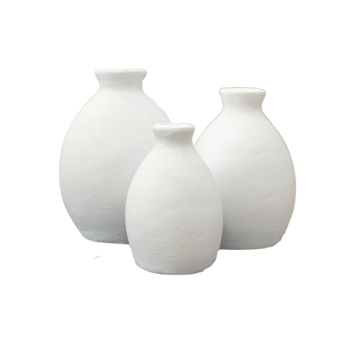 Matte white terracotta vases shown in three different sizes.