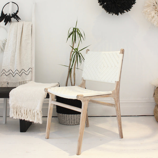 Rattan Dining Chair - White Wash