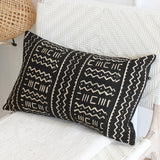 Mali Mud Cloth Cushion - Black Oblong