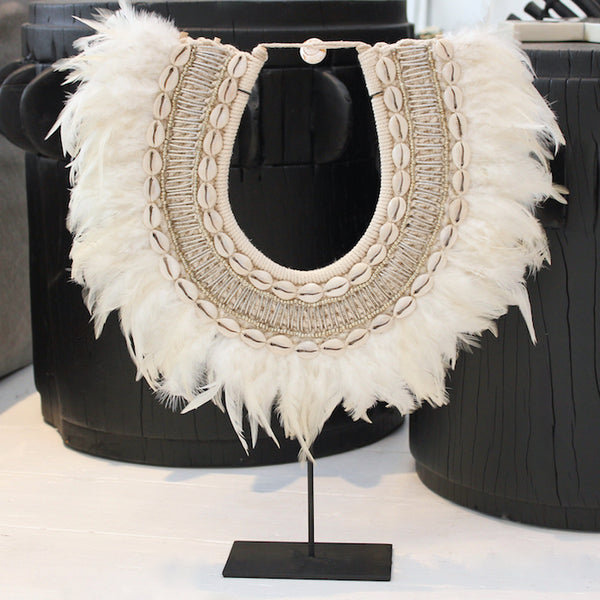 Tribal Feather Neckpiece - White/Silver