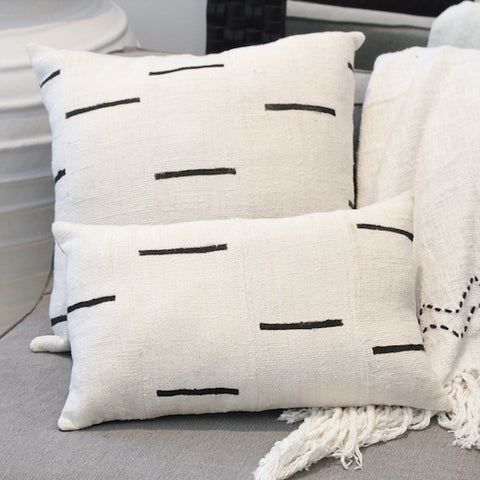 Mali Mud Cloth Cushion - Ivory Oblong
