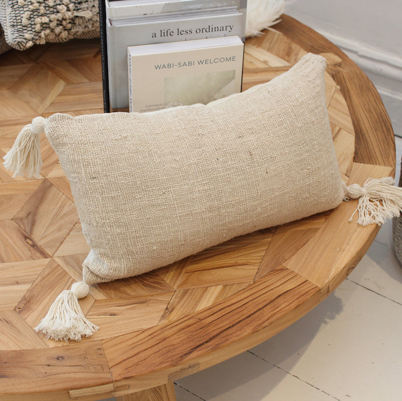 Natural Cotton Cushion - Oblong