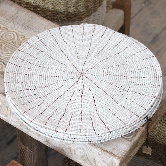 Beaded Placemats - White