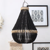 Contrast Beaded Chandelier - Black/Natural