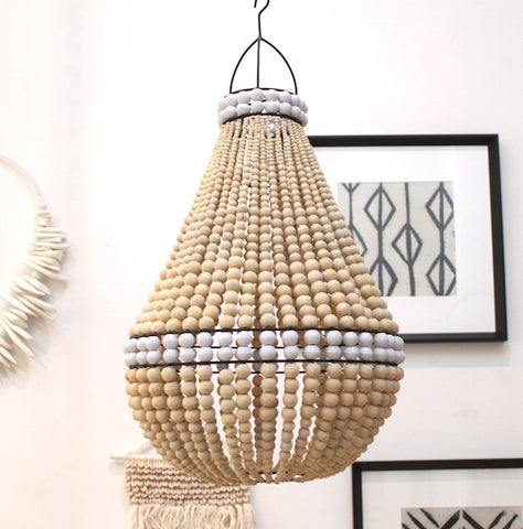 Contrast Beaded Chandelier - Natural / White