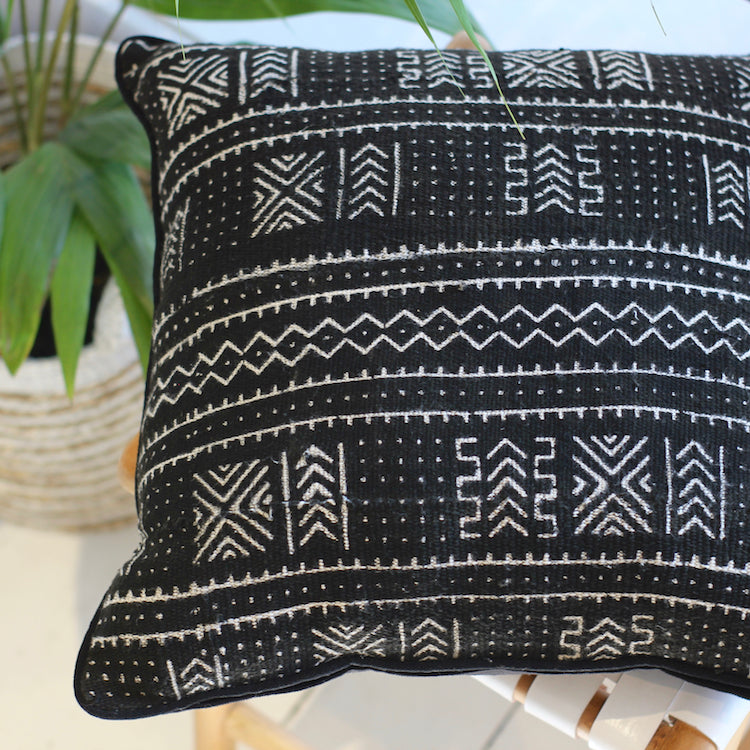 Mali Mud Cloth Cushion - Black