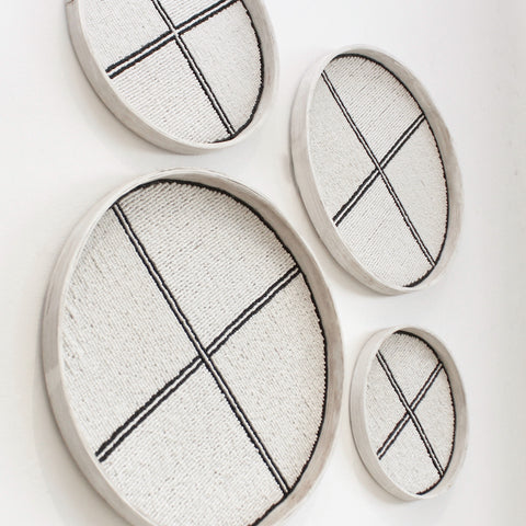 Beaded Trays - White/Black