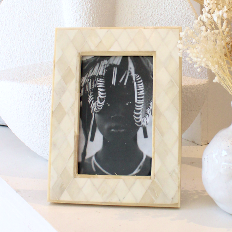 Diamond Cut Bone Inlay Photo Frame