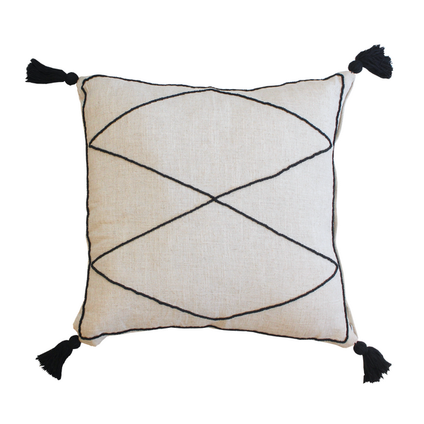 Iman Linen Cushion - Black
