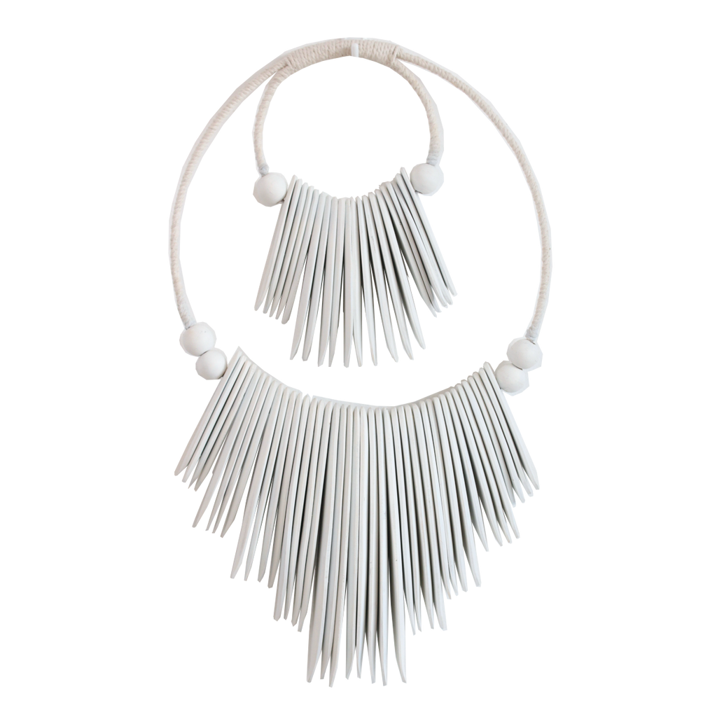 Indah Sculptural Necklace on Stand - White