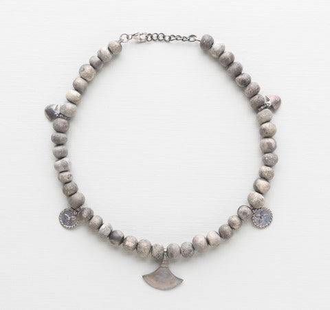 Klaylife Ayize Clay Bead Necklace - Grey