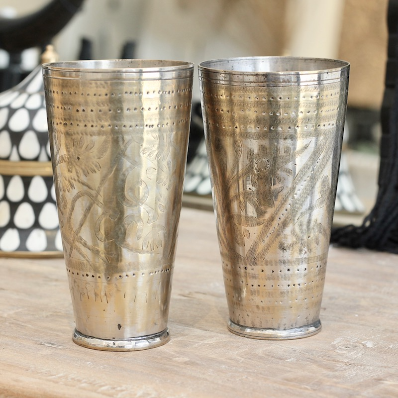 Vintage Brass Lassi Cups
