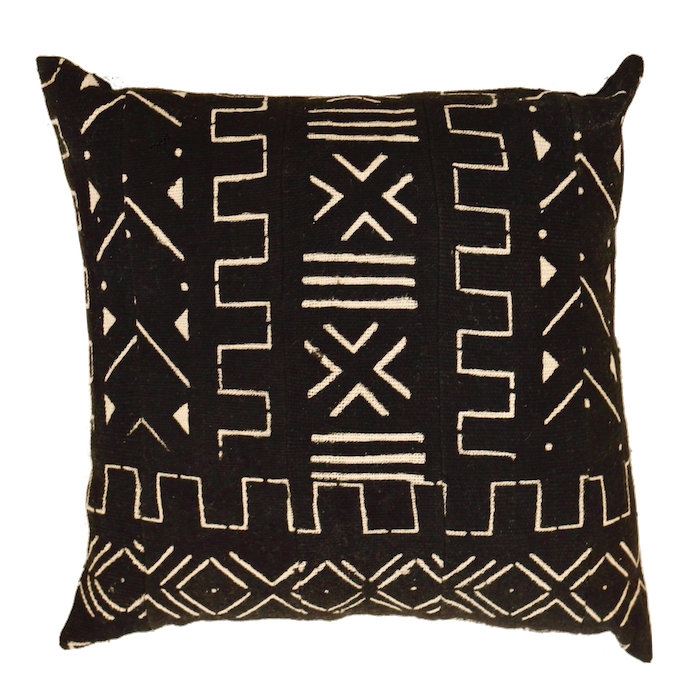 Mali Mud Cloth Cushion - Black II