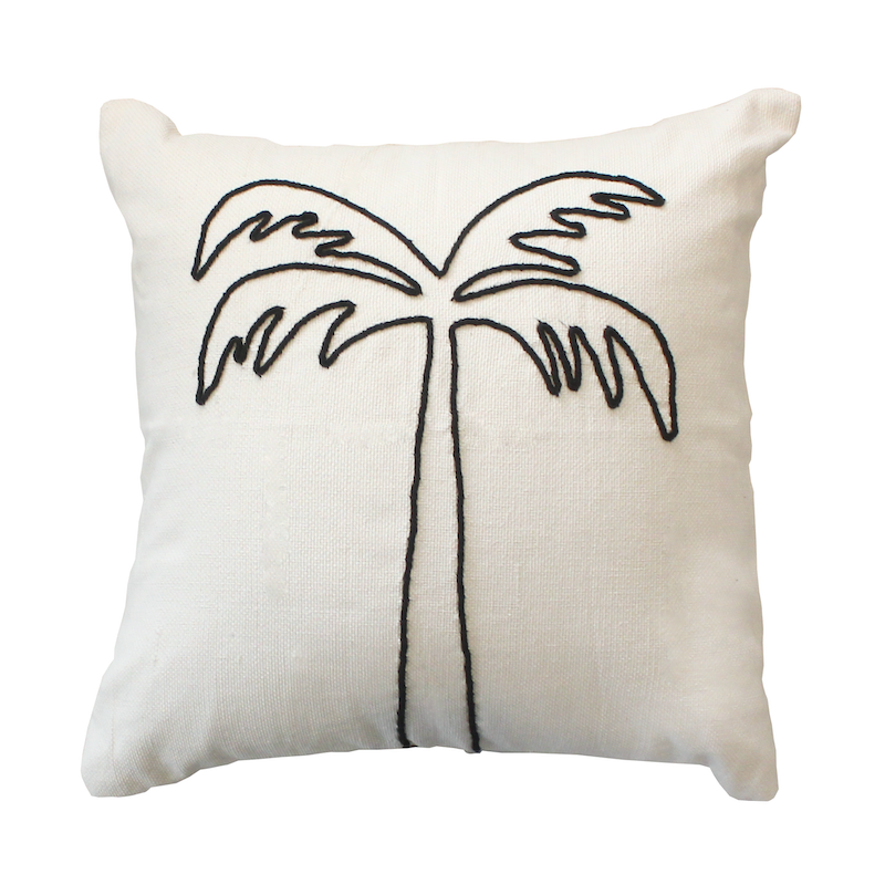 Palm Tree Cushion - Black