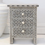 Bone Inlay Bedside Table - Black