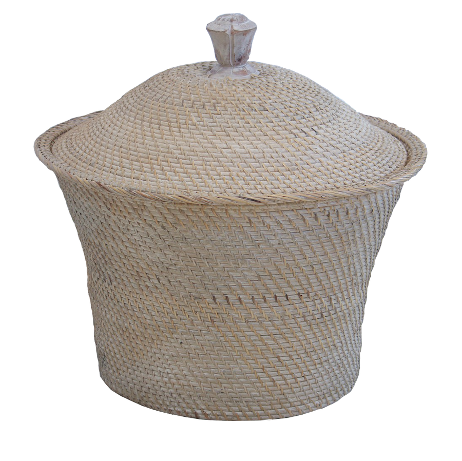 Round Rattan Basket with Lid - White Wash