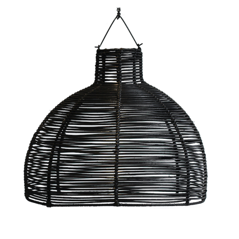 Rattan Dome Pendant - Black