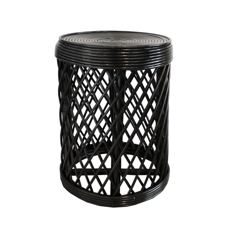 Rattan Side Table - Black