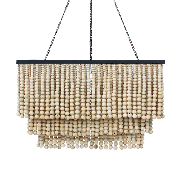 Rectangle Beaded Chandelier - Natural