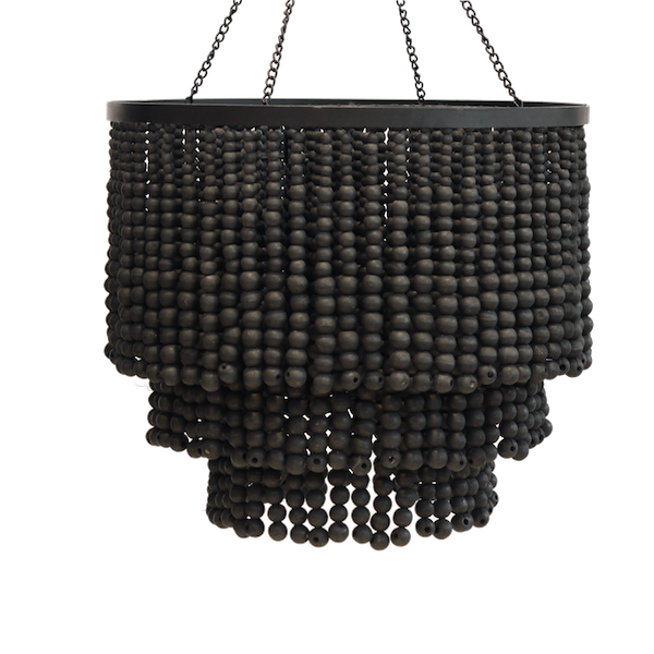 Round Beaded Chandelier - Black