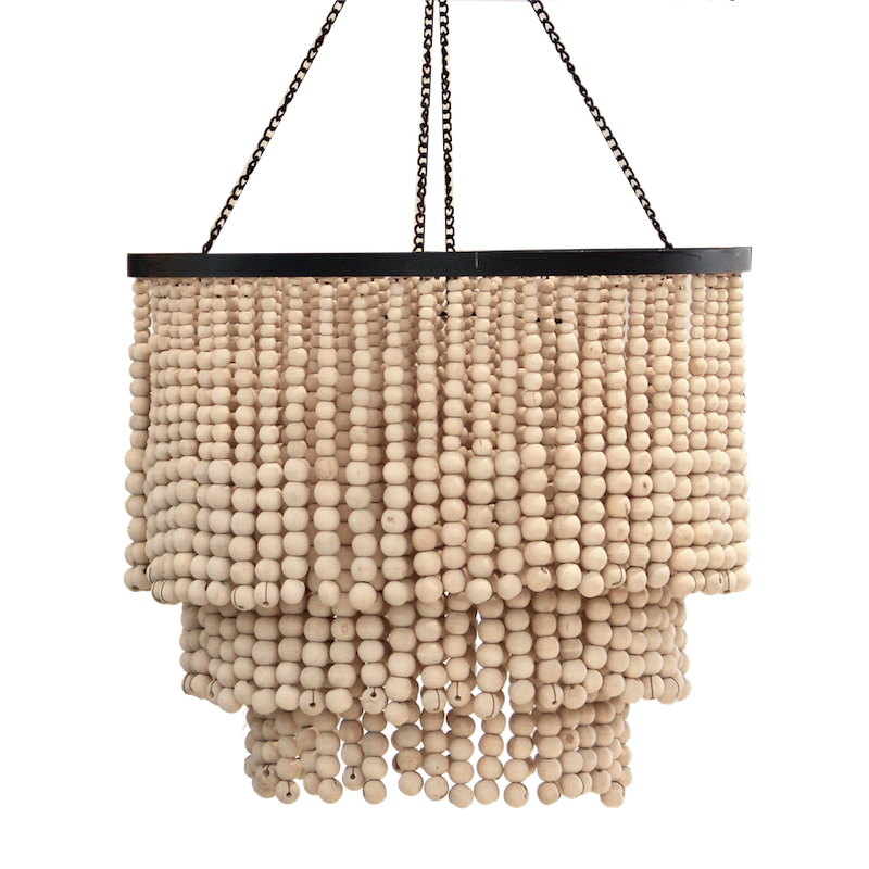 Round Beaded Chandelier - Natural