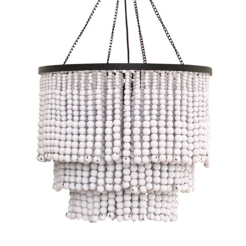 Round Beaded Chandelier - White