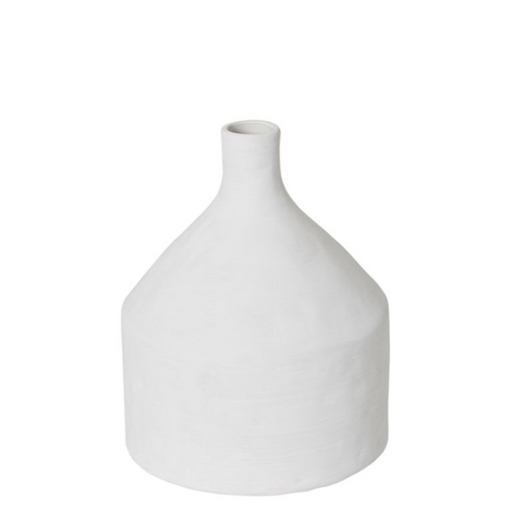Imani Textured Bottle Vase - White