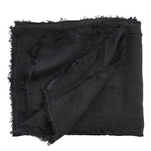 Linen Bed Throw - Black