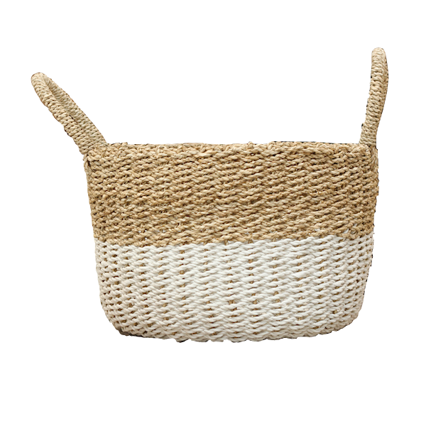 Seagrass Basket - Natural / White